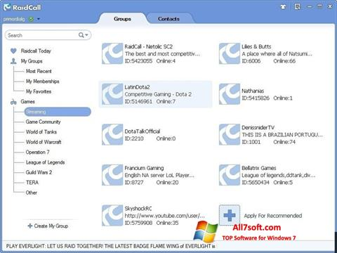 Screenshot RaidCall Windows 7