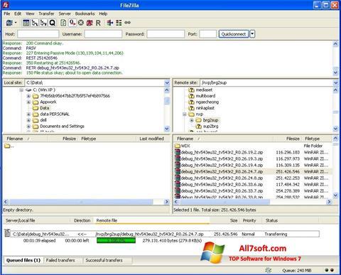 Screenshot FileZilla Windows 7