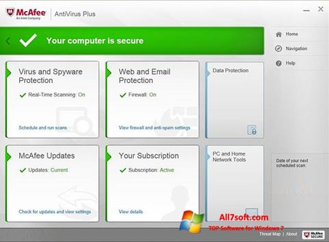 Screenshot McAfee AntiVirus Plus Windows 7