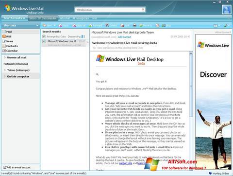 Screenshot Windows Live Mail Windows 7