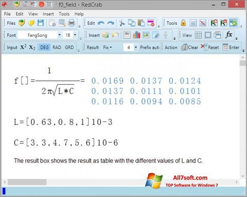 Screenshot RedCrab Calculator Windows 7