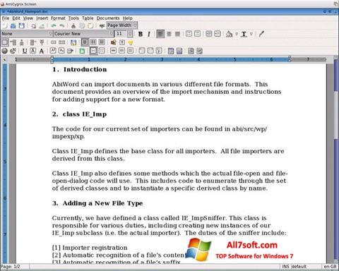Screenshot AbiWord Windows 7