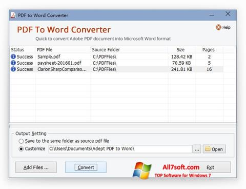 Screenshot PDF to Word Converter Windows 7