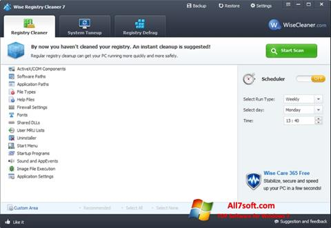 Screenshot Wise Registry Cleaner Windows 7