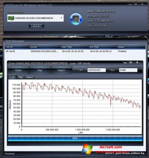 Screenshot HDDScan Windows 7