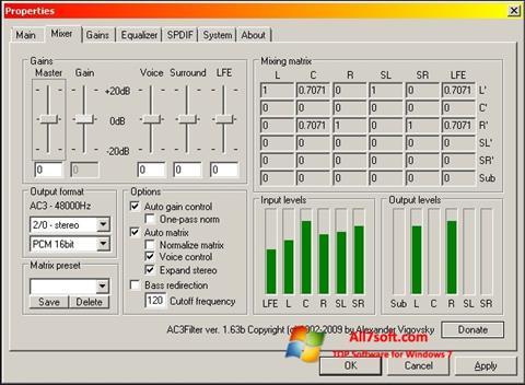 Screenshot AC3 Codec Windows 7
